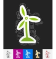 wind turbines paper sticker with hand drawn vector image