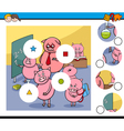 match pieces game with pigs vector image