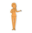 isolated standing young woman vector image