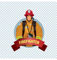 round icon on white background with firefighter vector image