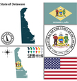 Map of Delaware with seal vector image