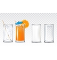 Set icons glasses with water juice and milk vector image