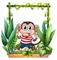 A monkey wearing a stripe shirt vector image