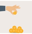 Hand Puts Gold Coin - Contribution to the Future vector image