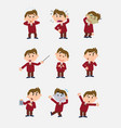 businessman character in a set with 9 variations vector image vector image