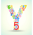 Letter Y colored font from numbers vector image