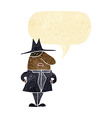 cartoon man in coat and hat with speech bubble vector image