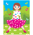 happy girl in park vector image vector image