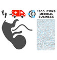 embryo icon with 1300 medical business icons vector image