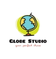 funny doodle style globe logo Sketchy vector image