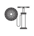 hand pump with car wheel pressure air instrument vector image