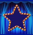 retro star billboard blue theater curtain vector image