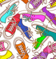 Seamless pattern of sneakers vector image