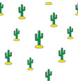 seamless pattern with tropical cactus vector image
