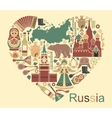 Symbols of Russia in the form of heart vector image