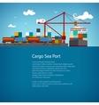 Cargo Sea Port Flyer Design vector image