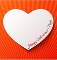 Paper heart over red background vector image