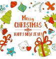 Christmas doodle card vector image
