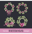 Watercolor Set of Four Rose WreathsTrendy Design vector image vector image