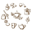 Herbal tea dessert and bakery sketch icons vector image vector image