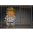 Prisoner being locked in the prison vector image vector image