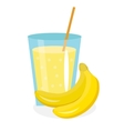 Banana juice in a glass Fresh isolated on white vector image