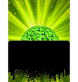 Disco ball poster with burst rays EPS8 vector image
