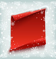 Red curved paper banner on winter background vector image