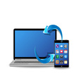 synchronize smart phone and laptop computer vector image