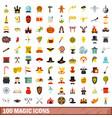 100 magic icons set flat style vector image