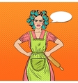Angry Housewife Pop Art Woman Holding Rolling Pin vector image