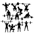 Gym weightlifting silhouettes vector image