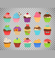 cupcakes flat icons on transparent background vector image