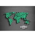 hand drawn green world map on a grey background vector image