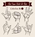 Hand drawn sketch set hands gestures vector image