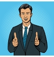 Businessman pointing with two hands pop art vector image