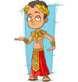 Cartoon Egyptian with golden crown vector image