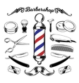 Monochrome collection barbershop tools vector image