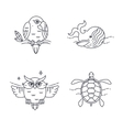 Parrot Owl Wheel and Turtle vector image
