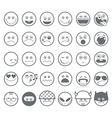 Smiley emoticon line icons set vector image