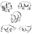 Rhinos A sketch by hand Pencil drawing vector image