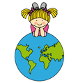 Girl with a globe vector image