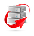 database icon with update symbol presented as red vector image vector image