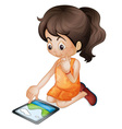 using a tablet pc vector image vector image