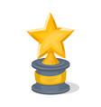 golden trophy cup of star shape vector image