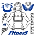 Healthy Fitness Girl and design elements vector image