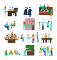 Higher Education Person Set vector image