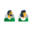 Man woman side view half face head clerk service vector image
