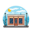 Generic shop exterior on the city street vector image