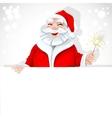 Cute Santa Claus holding large horizontal banner vector image vector image